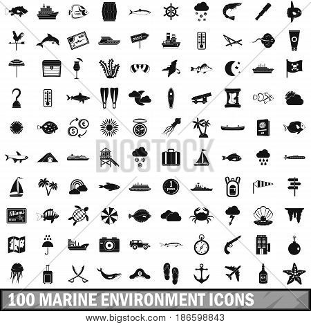100 marine environment icons set in simple style for any design vector illustration