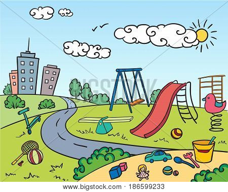 Colored children playground bright concept with attractions game equipment toys sandbox buildings in hand drawn style vector illustration