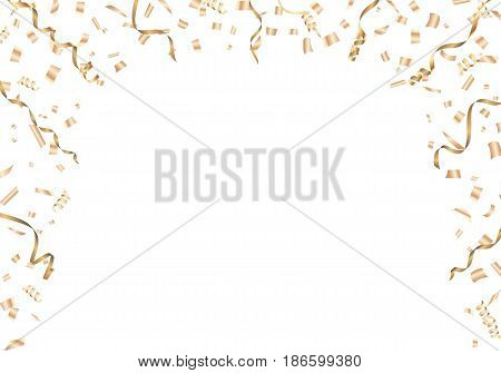 Gold confetti and streamer frame with copy space Vector