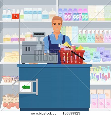 Salesman man cashier standing at checkout in supermarket