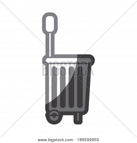grayscale silhouette of shopping basket with wheels vector illustration