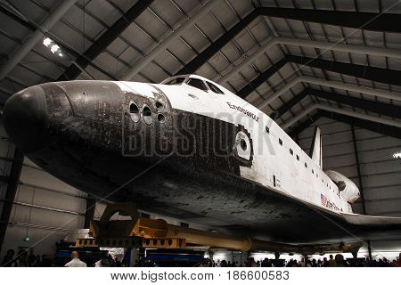 Los Angeles, CA - OCTOBER 12, 2016: Endeavour Space Shuttle in California Science Center on OCTOBER 12, 2016