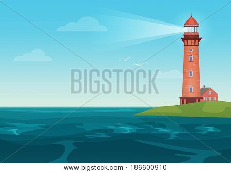 Lighthouse on on the little island cartoon landscape. Beacon in ocean for navigation vector illustration