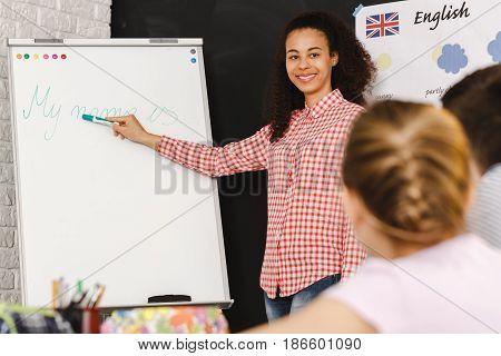 Afroamerican Teacher In School