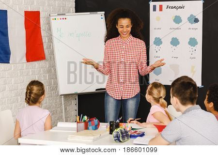 Native Speaker During Lesson With Kids