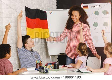 Boy Ready To Answear During Deutsch Lesson