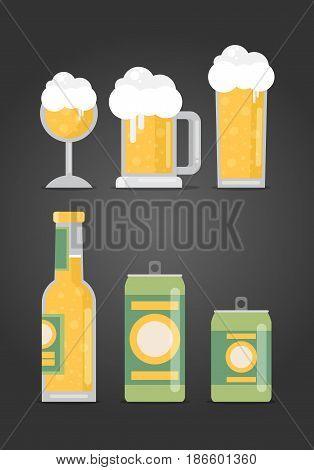 Bottle of beer with glass flat design modern vector illustration.