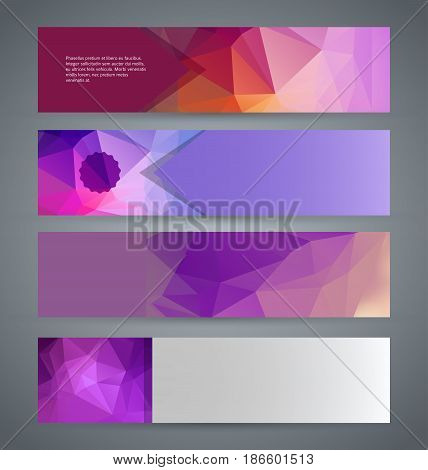 Horizontal Web Banner Triangle Mosaic Background Set Template10