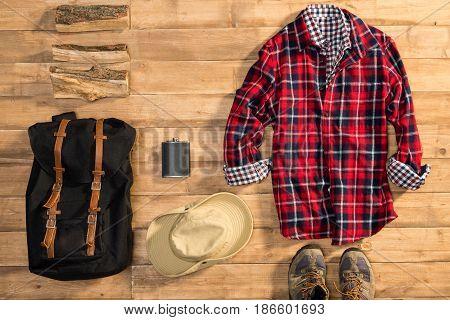 Traveler Set On Wooden Background, Flat Lay