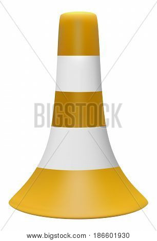 Vector 3D illustration of yellow traffic cone with white stripes on white background