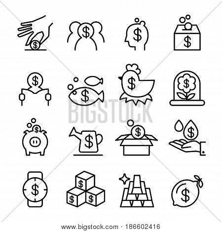 investment & profit icon set in thin line style