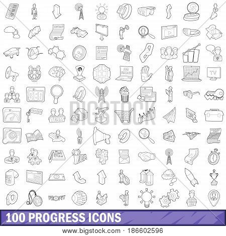 100 progress icons set in outline style for any design vector illustration