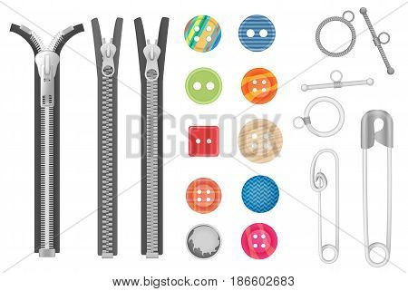 Steel metal zipper and objects for sewing, handicraft collection. Realistic buttons and zippers set