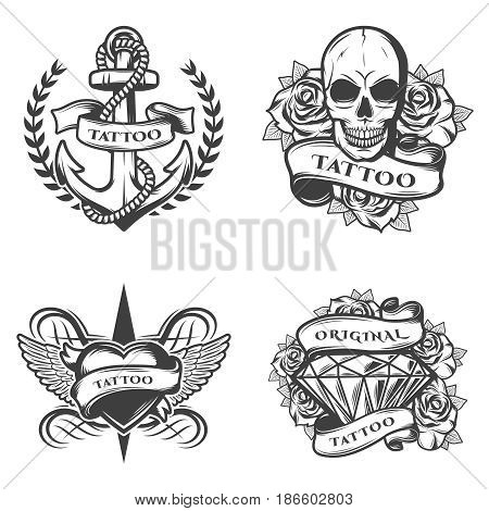 Vintage tattoo studio emblems set with anchor rope skull roses heart diamond in monochrome style isolated vector illustration