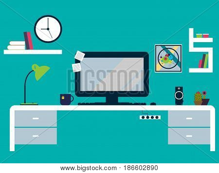 Illustration of modern working place flat design