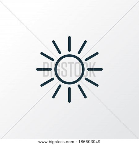 Sunshine Outline Symbol. Premium Quality Isolated Sun Element In Trendy Style.