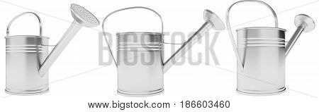 Galvanized metal watering can. 3D illustration isolated on a white background
