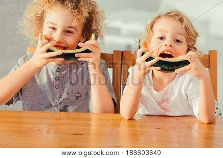 Brothers Eating Watermelon