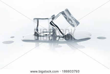 Melting ice cubes with reflection isolated on white background. Closeup of cold crystal block cutout