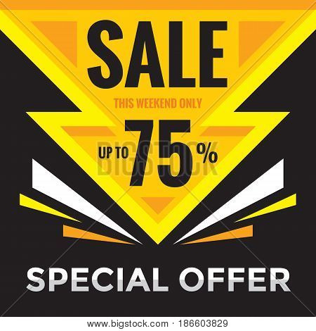 Sale discount up to 75% - vector banner concept illustration. Special offer. Abstract advertising promotion layout in black and yellow colors. Graphic design element.