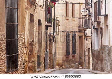 Picturesque street in Teruel. Mora de Rubielos. Spain heritage tourism. Horizontal