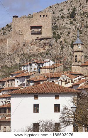 Picturesque village in Teruel. Alcala de la Selva. Spain heritage