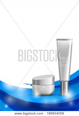 Skin moisturizer cosmetic design template with gray realistic packages on blue wavy elegant light lines background. Vector illustration