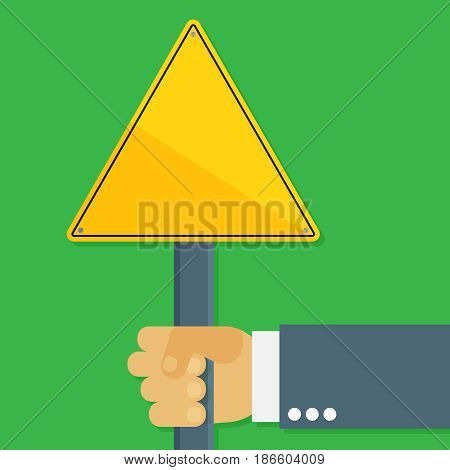 Warning sign vector illustration. Danger flat element for web design and mobile app. Caution high quality flat icon for design printed material. Hazard sign icon on background.