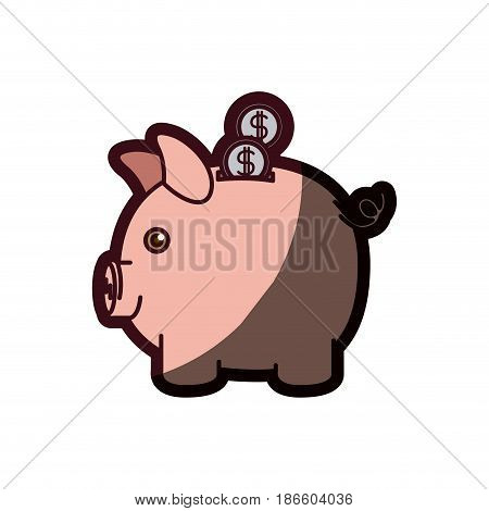 colorful silhouette of moneybox in shape of pig with coins and thick contour vector illustration