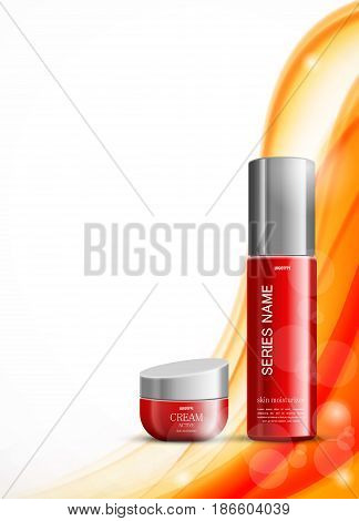 Skin moisturizer cosmetic ads template with red realistic packages on light wavy elegant dynamic soft lines background. Vector illustration