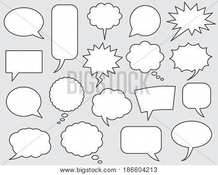 speech bubbles vector set stroke line comics style