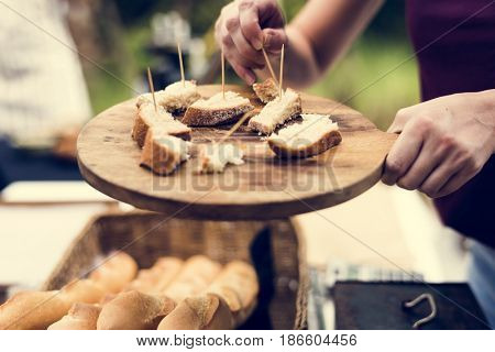 People Hands Eating Testing Sample Homemade Bread