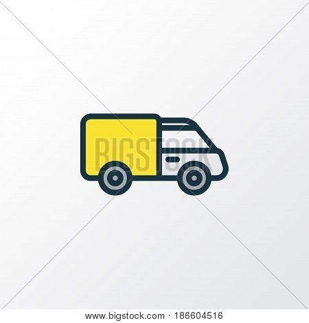 Van Colorful Outline Symbol. Premium Quality Isolated Track  Element In Trendy Style.