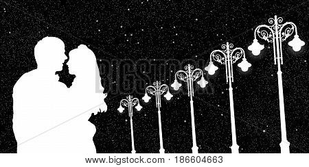 Lovers and vintage lampposts at night. Vector illustration with silhouette of loving couple under starry sky. Black and White