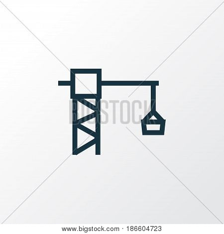 Lifting Hook Outline Symbol. Premium Quality Isolated Tower Crane Element In Trendy Style.