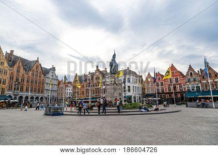 Panoramic Markt Square In Brugge