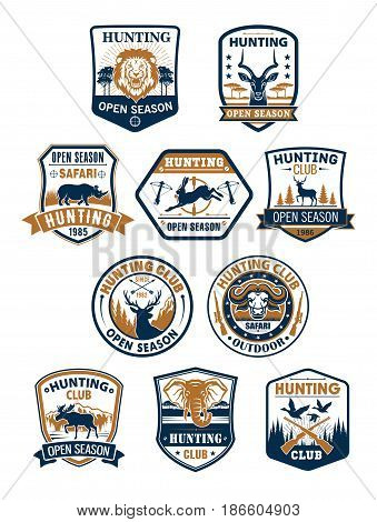 Hunting club badges, african safari, deer and duck hunting sport symbol set. Deer, duck, lion, hare, elk, bull, elephant, rhino and antelope on heraldic shield with hunter rifle, target, ribbon banner