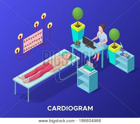 Isometric cardiogram medical procedure template with doctor sitting at table and patient lying on bed in hospital vector illustration