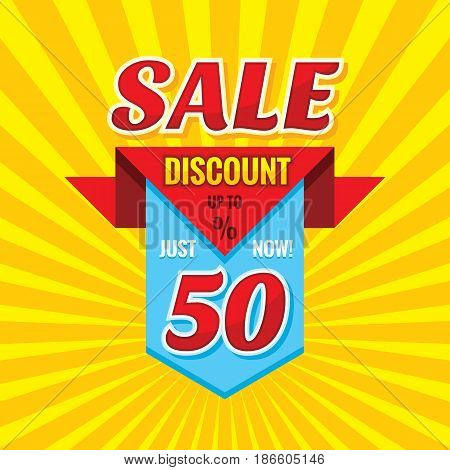 Sale discount up to 50% - vector banner concept illustration. Just now! Abstract advertising promotion creative badge layout. Graphic design elements.