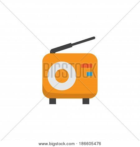 Fm Flat Icon Symbol. Premium Quality Isolated Broadcasting Element In Trendy Style.