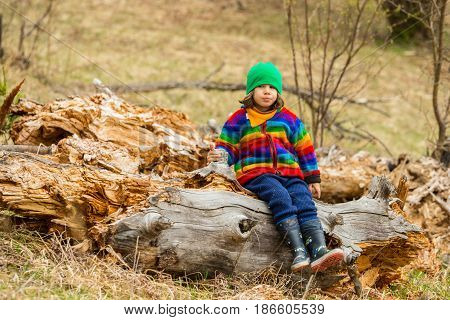 Upset boy in rainbow hoodie sitting on an old tree trunk outddor