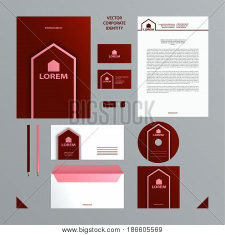 Corporate Identity business template. Burgundy and pink color branding set with a folder, blank, cover, business card.