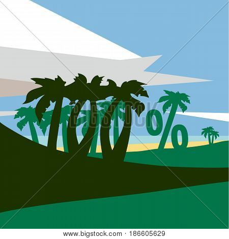 Summer flat geometric landscape. Summer beach with palm trees. One hundred percent banner text.