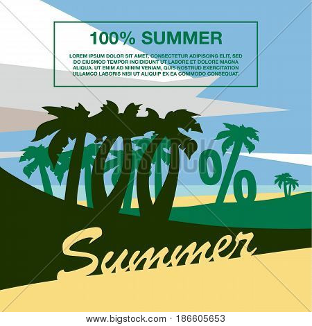 Summer beach with palm trees. One hundred percent banner text. Summer flat geometric landscape.