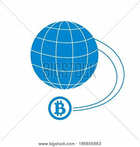 Stylized Icon Of A Colored Bitcoin As A Means Of Payment Speed Worldwide
