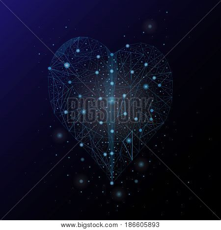 Abstract image of the heart in the form of a starry sky and space.
