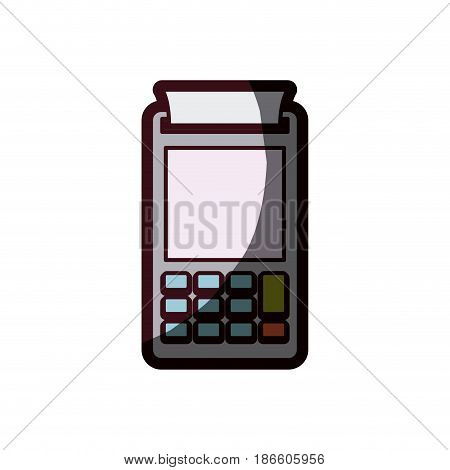 color silhouette with payment terminal with thick contour vector illustration