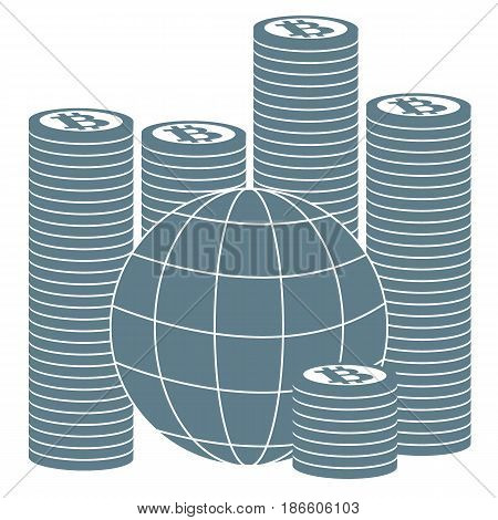 Picture Describing The Possibilities Of Using Bitcoin As A Means Of Payment In The World: A Pile Of