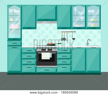 Kitchen interior with furniture and equipment. Vector flat illustration.