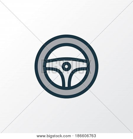 Steering Wheel Colorful Outline Symbol. Premium Quality Isolated Rudder Element In Trendy Style.